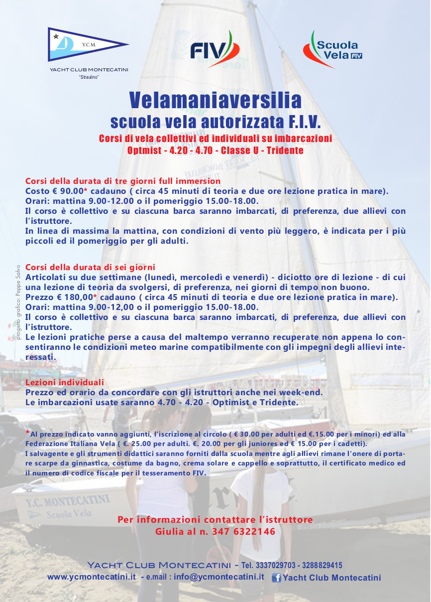 Locandina Scuola di Vela Fiv Lido di Camaiore